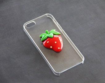 Transparent iPhone 5c Case Cover Bumper Skin Strawberry iPhone 5 iPhone 6 Samsung Galaxy Clear Strawberry Fruit Galaxy Note 2 3 Clear Fruit
