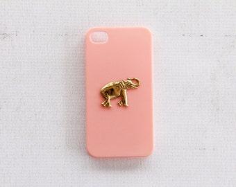Elephant iPhone 4s Cases Animal iPhone 4 Case Light Pink Baby Pink Hard Case Asian Elephant iPhone Cases Gold and Pink Light Pink iPhone4s