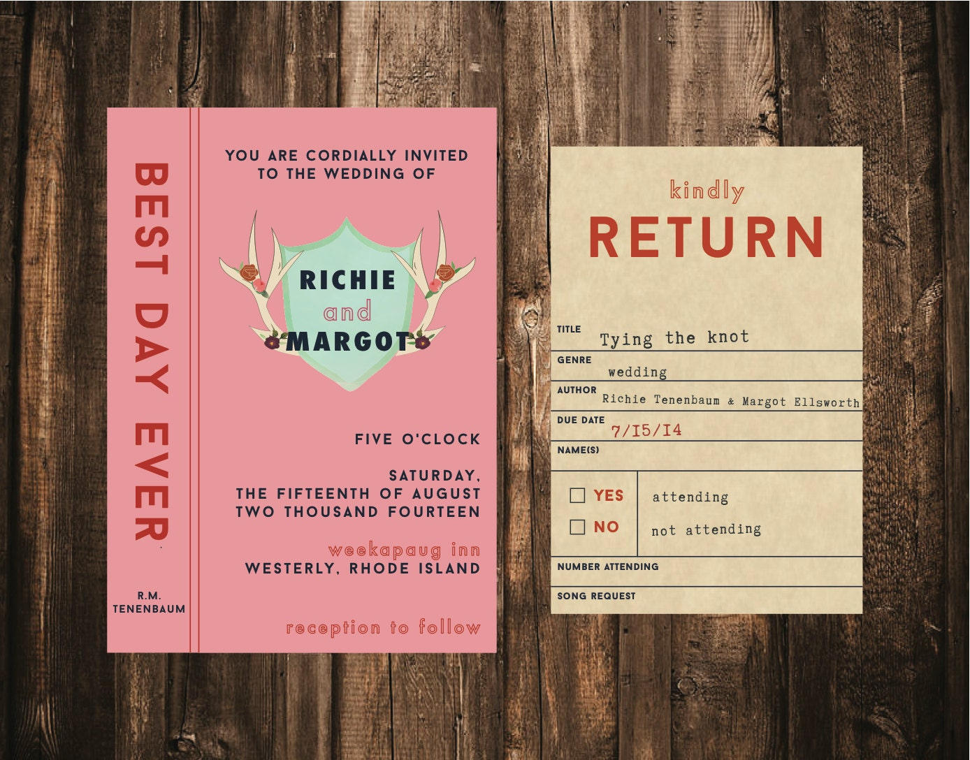 wes anderson styled library wedding invitation by