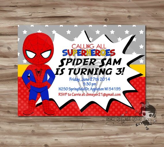 Spider Man Invitation Spiderman Invite Spider Man Invite