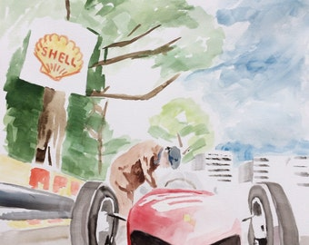 1961 Ferrari F1 Sharknose Watercolor Painting