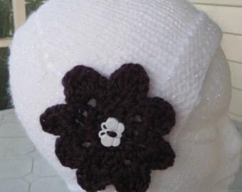 White Beanie with Purple Flower