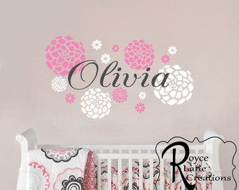 Nursery Name Decal Nursery Art Baby Girl Name With Dahlia Flowers N24 A-B Wall Decal For Girls Nursery or Teen Room Decor Nursery Decor