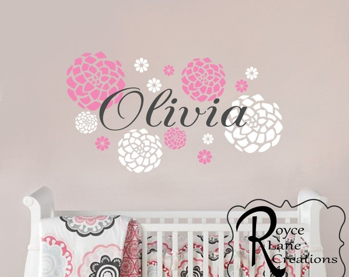 Name With Dahlia Flowers N24 A-B Wall Decal for Girls