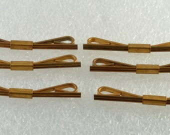 Lot of 6 Vintage Antique Brass Collar Stays New Old Stock