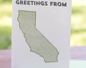 Greetings from California. Letterpress Greeting Card