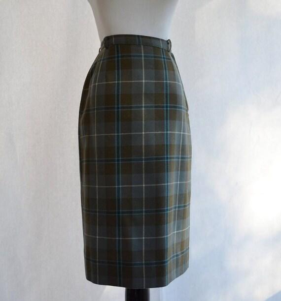 50s 60s green douglas tartan pencil skirt by coolmintmoon
