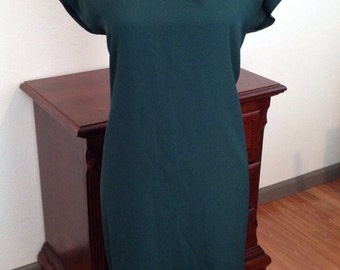 Vintage 1960's Mod Forrest Green Mad Men Pin Up Dress