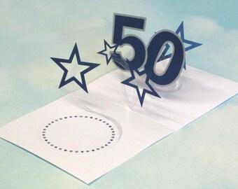 50th Birthday Card Spiral Pop Up 3D - Blue Stars