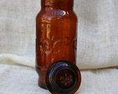 Amber Jar with Fleur De Lis Pattern - TrellisLaneVintage