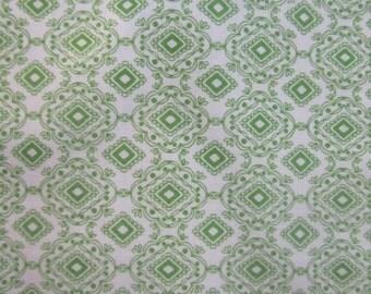 Green Geometric Fabric, 1 yard Green and White Fabric, Green Diamond Fabric, by the yard
