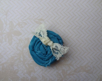 Teal Rolled Fabric Flower Hair Clip