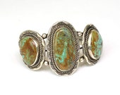 Vintage Three Stone Native American Turquoise and Sterling Silver Cuff