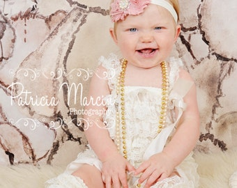 DUSTY ROSE HEADBAND, baby headband, shabby chic headband, girls headband, newborn headband, pink and cream headband.