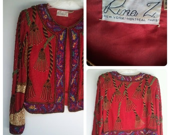 80's Vintage Rina Z Red Silk Bead Embroidered Smoking Jacket