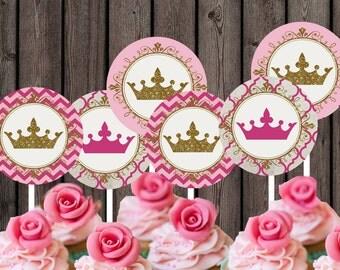 princess cupcake toppers, royal princess party, instant download, princess tags