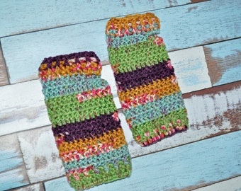 Gloves - Orange, Purple, Green, Pink, and Blue - Fingerless Gloves - Crochet