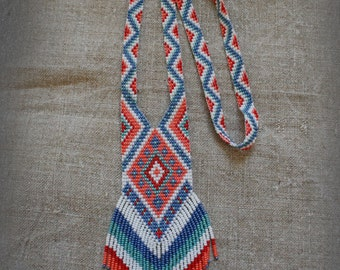 Ethnic Long Beaded Necklace , beadwoven long necklace , traditional beadwork .