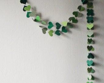Green Heart Paper Garland , nursery decor , St Patriks Day decor ,Greenery Wedding decor , Party decoration , Green Birthday decor