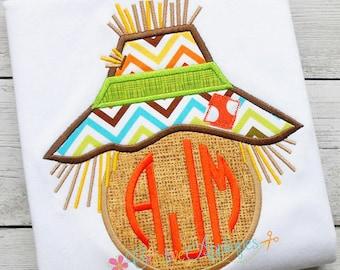 Scarecrow Monogram Digital Machine Embroidery Applique Design 4 sizes