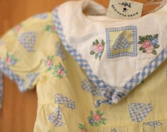 Vintage Baby Girl One Piece + Hat - 6 to 9 Months - Flowered Nautical Design