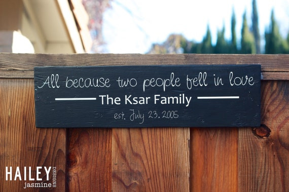 All Because Two People Fell In Love Family Name Established Hand Painted, Anniversary Gift, Marriage, Personalized Wood, Wall Sign