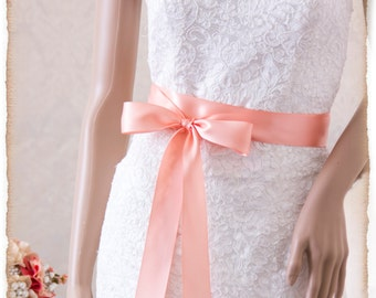 PEACH Bridal Sash, Satin Ribbon Sash, Wedding Sash, Satin Bridal Sash, Bridesmaids Sash, Bridal Belt