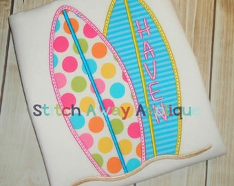 Summer Surf Boards Machine Applique Design