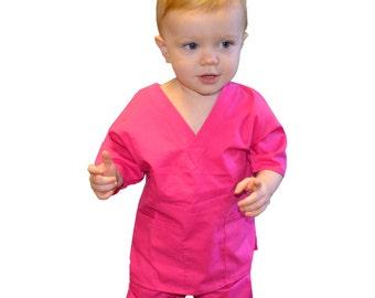 Pink Toddler Kids Scrubs for little Doctors and Nurses