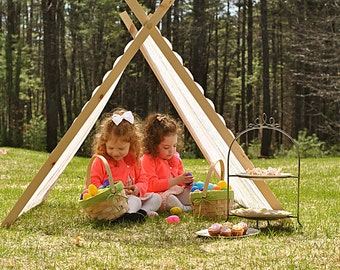 EASTER LACE Kids A-Frame tent play pretend wooden Photography prop
