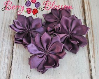 "Violet Satin Ribbon Flower 2"" inch size - small satin ribbon flowers - Set of 4 - SF YC145 3"