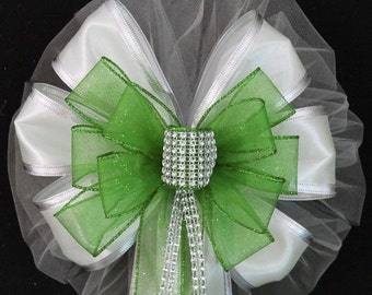 Lime Green Bling White Wedding Pew Bow - Church Pew Decorations, Wedding Aisle Decorations, Wedding Ceremony Bow, Wedding Chair Bows