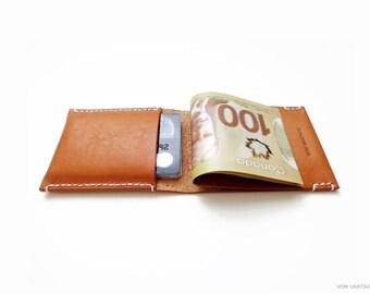 PÅÅLM Minimalist Wallet - Handmade With Premium Vegetable Tanned Italian Leather - Caramel