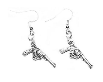 Revolver Earrings Silver Plated Mini Gun Charm Dangle