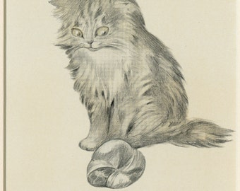 """1911 Matted Antique Cat Print  Oliver Herford - """"Kitten with a Toy"""" Persian Cat, Cat Art, Cat Decor, Vintage Cat Print - 8x10'"""