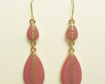 Mauve Teardrop Earrings with Gold Line with Small Square Dot, Mauve Resin Teardrop Earrings, Hypoallergenic, Resin Jewelry For Her