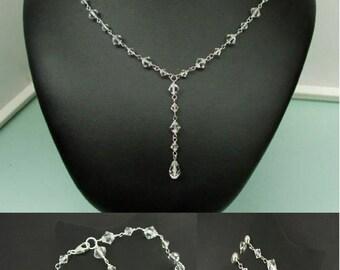 Swarovski crystal wedding jewelry set Sterling Silver AB or clear crystal drop necklace bracelet and earrings Swarovski bridal jewellery set