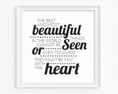 Typographic Art Print - Letters Print - Typography - Helen Keller Quote - 'Best and Beautiful Things'