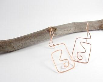 Jewelry. Copper thread through earrings. Geometric earrings. Gift for her. Dangle earrings