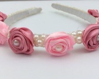 flower girl head band with satin handmade pink flowers,