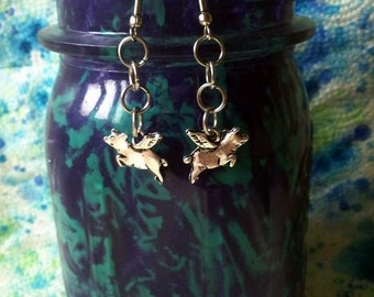 Tibetan Silver Flying Pigs Dangle Earrings