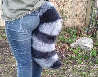 Grey Raccoon Cartoony Costume Tail.