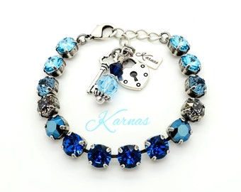 MOSAIC BLUE 8mm Crystal Rivoli and Chaton Bracelet Made With Swarovski Elements *Pick Your Metal *Karnas Design Studio *Free Shipping*