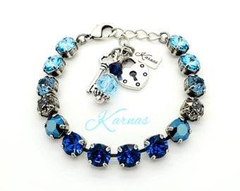 MOSAIC BLUE 8mm Crystal Rivoli and Chaton Bracelet Made With Swarovski Elements *Pick Your Metal *Karnas Design Studio *Free Shipping*