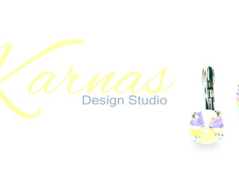 CRYSTAL AB 8mm Crystal Rivoli Drop Leverback Earrings Made With Swarovski Elements  *Pick Your Metal *Karnas Design Studio *Free Shipping*
