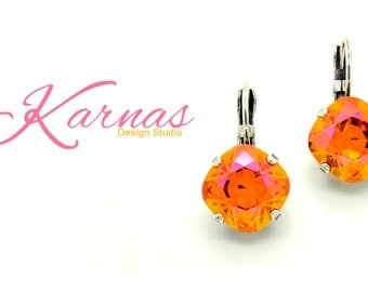 CRYSTAL ASTRAL PINK 12MM Cushion Cut Leverback Earrings Made With Swarovski Elements *Pick Your Finish *Karnas Design Studio *Free Shipping*