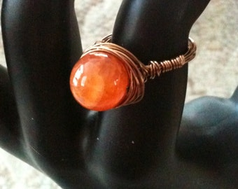 Wire Wrapped Fire Agate Ring