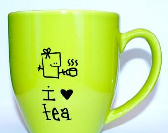 Hand Drawn I Love Tea Mug (Customizable)