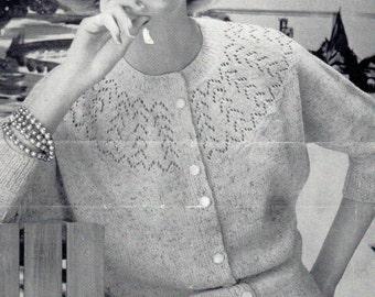 Lady's Button Up Cardigan with a Lace Yoke, PDF Vintage Knitting Pattern No. 1731,
