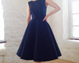 Classic cotton circle skirt frock in Black by LUCILLE.